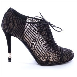 New CHANEL Lace Mesh Kid Suede Pearl Lace Up Booties